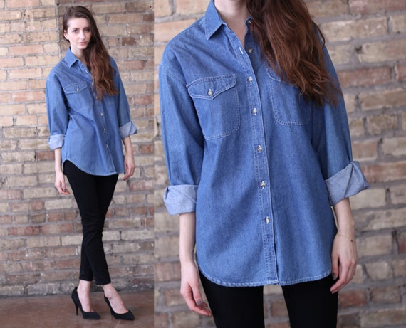 denim shirt blouse // vintage 80s // blue jean // oversized tunic // small medium large