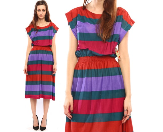 vintage striped dress // 80s // vibrant bold colors // ruched  waist // thick stripes // deastock //  small medium