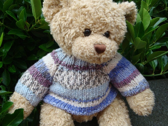 Chunky Teddy Bear Sweater - Hand knitted - Fair Isle - fits Build a Bear