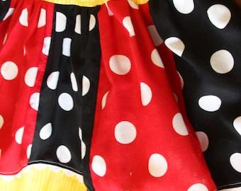 Custom Disney Inspired Strip-work Polka Dot Twirl Skirt
