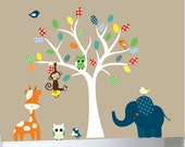 Children's jungle decal set white tree wall decal jungle animals - 0365