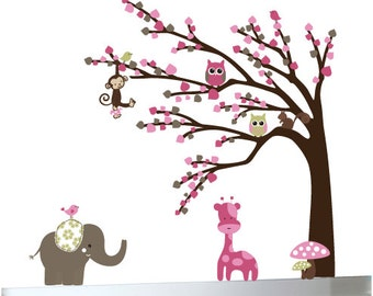 Kids wall art decal with elephant decal, birds, squirrel decals, giraffe decal - custom listing for H.