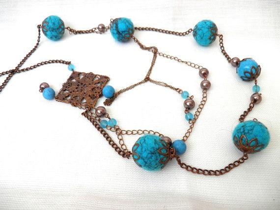 Felt Necklace / Felt Ball Necklace/ Felt Beaded Necklace / Felt Jewelry /  Turquoise