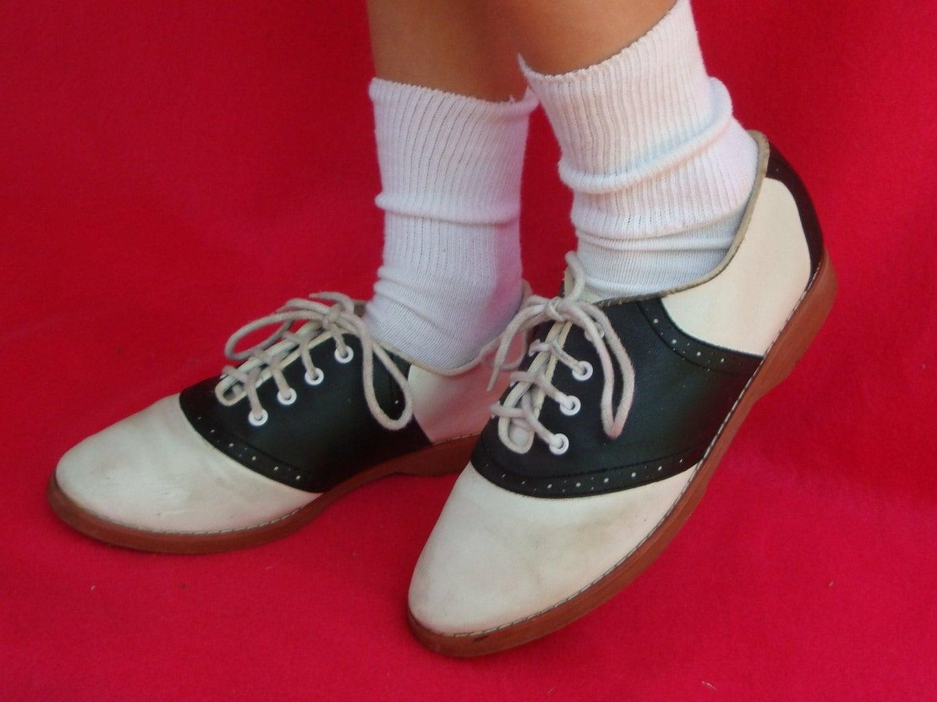 Vintage Vegan Saddle Shoes Black And White Cheerleader