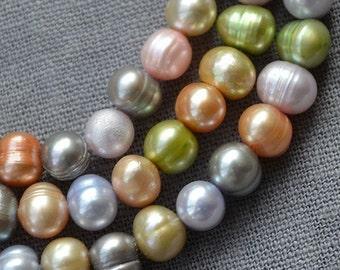 Potato pearl Large Hole Freshwater Pearl Loose Pearl Beads wholesale pearl 6.0-6.5mm 70pcs Multi Color Full Strand PL2114