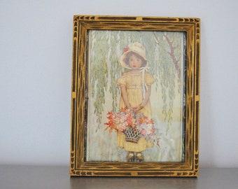 Jessie Willcox Smith Illustration Posy Girl Flowers Framed Frame Gilded Carved Antique