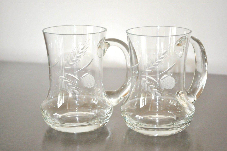 vintage scottish thistle beer glasses mugs etched set of 2