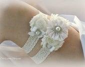 Ivory Garter Set Bridal Garter Set Lace Garter Bridal Accessories Silk Garter Set Flower Garter Set Wedding Garter Wedding Accessories