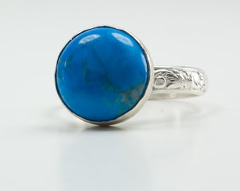 Solitaire Ring - Turquoise Ring  - Sterling Silver Gemstone Ring - Boho Ring