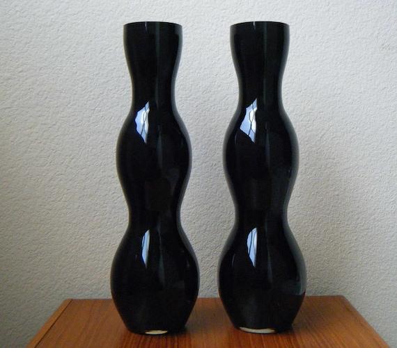 Pair of Huge Vintage Mod Black Amethyst Cased Glass Vases, 1960s Scandinavian Modern