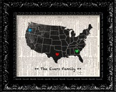 Personalized Family Heart USA Map - Custom Hearts Placement Dictionary Book Print Upcycled Book Art Book Page Vintage Dictionary Free Print