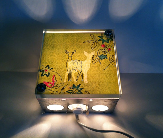 Light Box, Forest Deer, night light, hanging light, Repurposed, nursing light, Night Light, deer light Box
