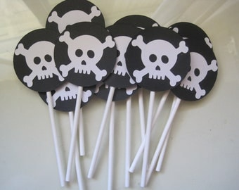 12 skull and crossbone cupcake toppers