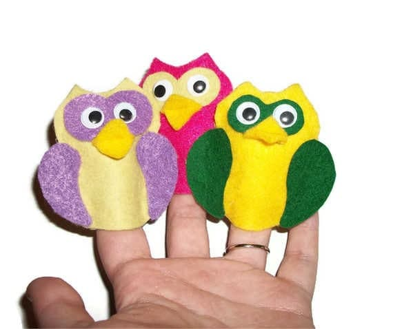 10 Brightly Colored Felt Owl Finger Puppets, Yellow, Pink, Green, Purple, Free Shipping