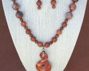 Orange Jasper Necklace with matching earrings