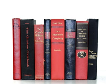 Valentines Day Inspired Vintage 8 Book Classic Collection Red Black Interior Design Vintage Book Decor