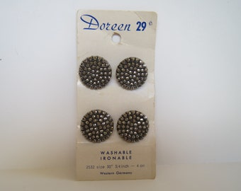 4 Vintage Doreen Glass Silver Button on Original Card, Western Germany