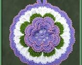 Crocheted Lavender Rose Potholder/Wall Art