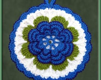 Crocheted Dark Blue Rose Potholder/Wall Art