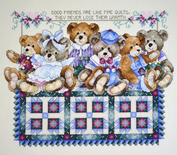 Teddy Bears and Quilt Cross Stitch Finished Completed Handmade
