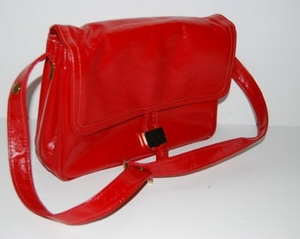Vintage 60's red FAUX leather fall  purse Organizer handbag Christmas gift for her     Ships from Colorado USA