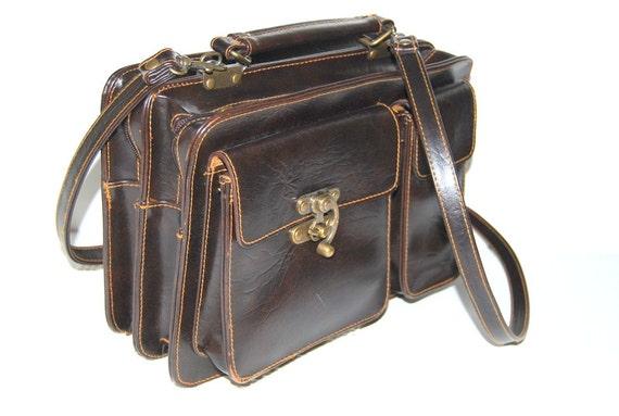 80s Vintage brown  leather   Satchel messenger shoulder crossbody bag organizer travel purse Back to school  ships from Colorado USA