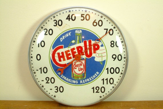 Very Rare Cheer Up Cola Thermometer from late 40s or early 50s