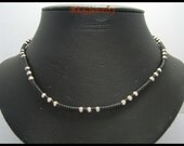Hill Tribe Silver Weaving Necklace Waxed Cotton 420 mm. (SH181)