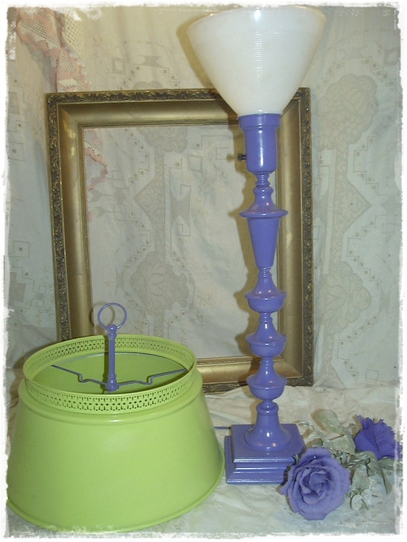Vintage Tole Lamp Upcycled Eclectic Lime