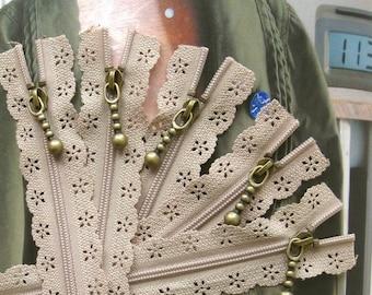 Long Lace Zippers Supplies Scallop Lace Clothes Purse Bags Khaki Zipper Trim DIY Fabric Crafts Alterations 13 Inches 5 pcs