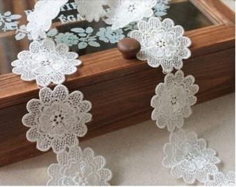 White Lace Applique Trim Wedding Jewelry Design 2 yards