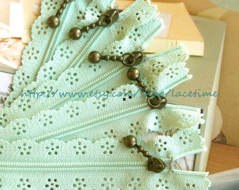 Long Zippers Light Mint  Scallop Lace Clothes Purse Bags Metal Zipper 5's - 13 Inches