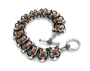 Chainmaille bracelet, orange & black bracelet