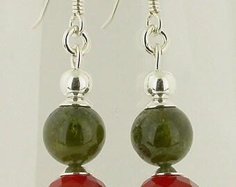 Green Garnet And Carnelian Faceted Sterling Silver Earrings