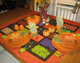 Large OOAK One of a Kind Quilted HALLOWEEN Wall Hanging / Tablecloth Topper / Lap Throw Holiday Handmade Country FOLKart