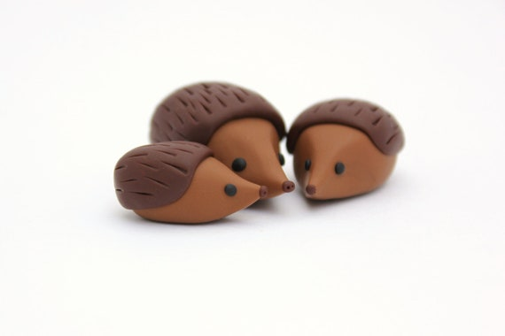 clay hedgehog miniatures set of three hedgehog family little polymer clay animals  autumnal animal polymer miniature clay  totem