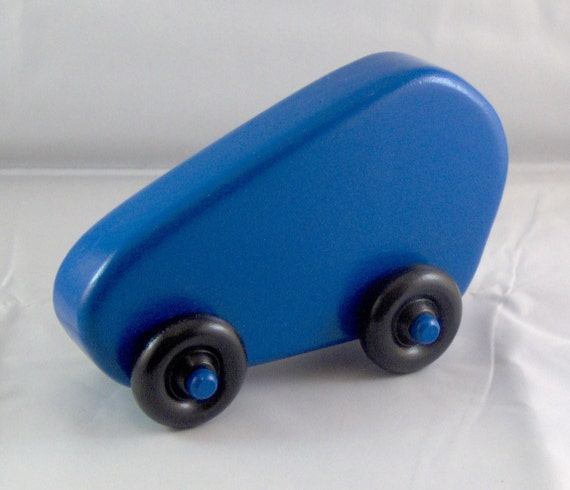 Sporty wooden toy car painted blue
