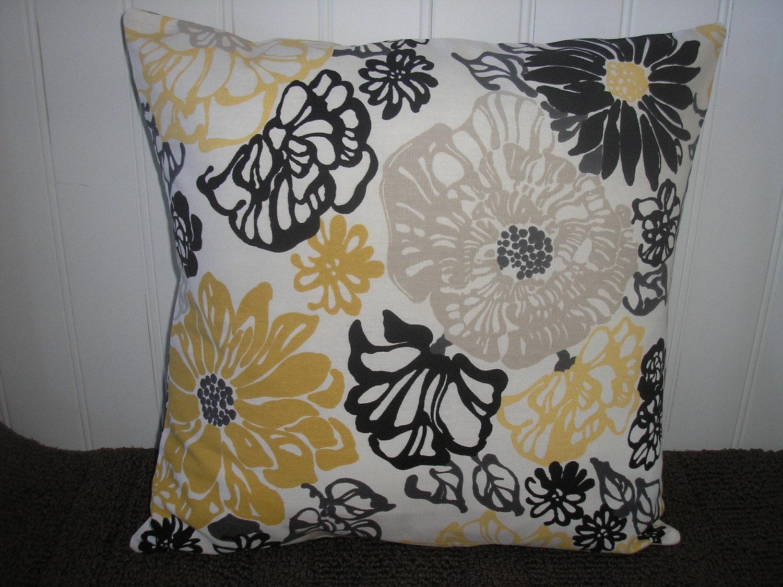 THROW PILLOW Sham / Cover 16x16 Yellow Black Gray Floral Print
