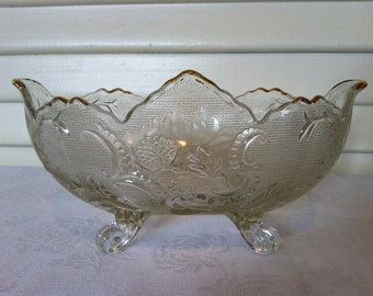 22K Gold Trimmed Oval Vintage Footed Bowl