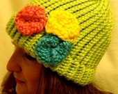 Knitted Hat/Beanie with Knitted Flowers Custom Colors and Combinations Welcome