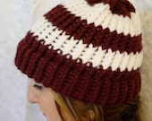 Maroon and White Stripped Beanie Knit Hat Knitted Custom Orders and Color Combinations Welcome