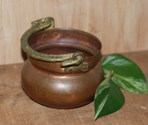 Small Rustic Vintage Copper & Brass Kettle Pot