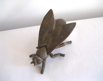 Vintage Brass Insect Bug Fly Hidden Storage Hinged Back Nature Home Décor