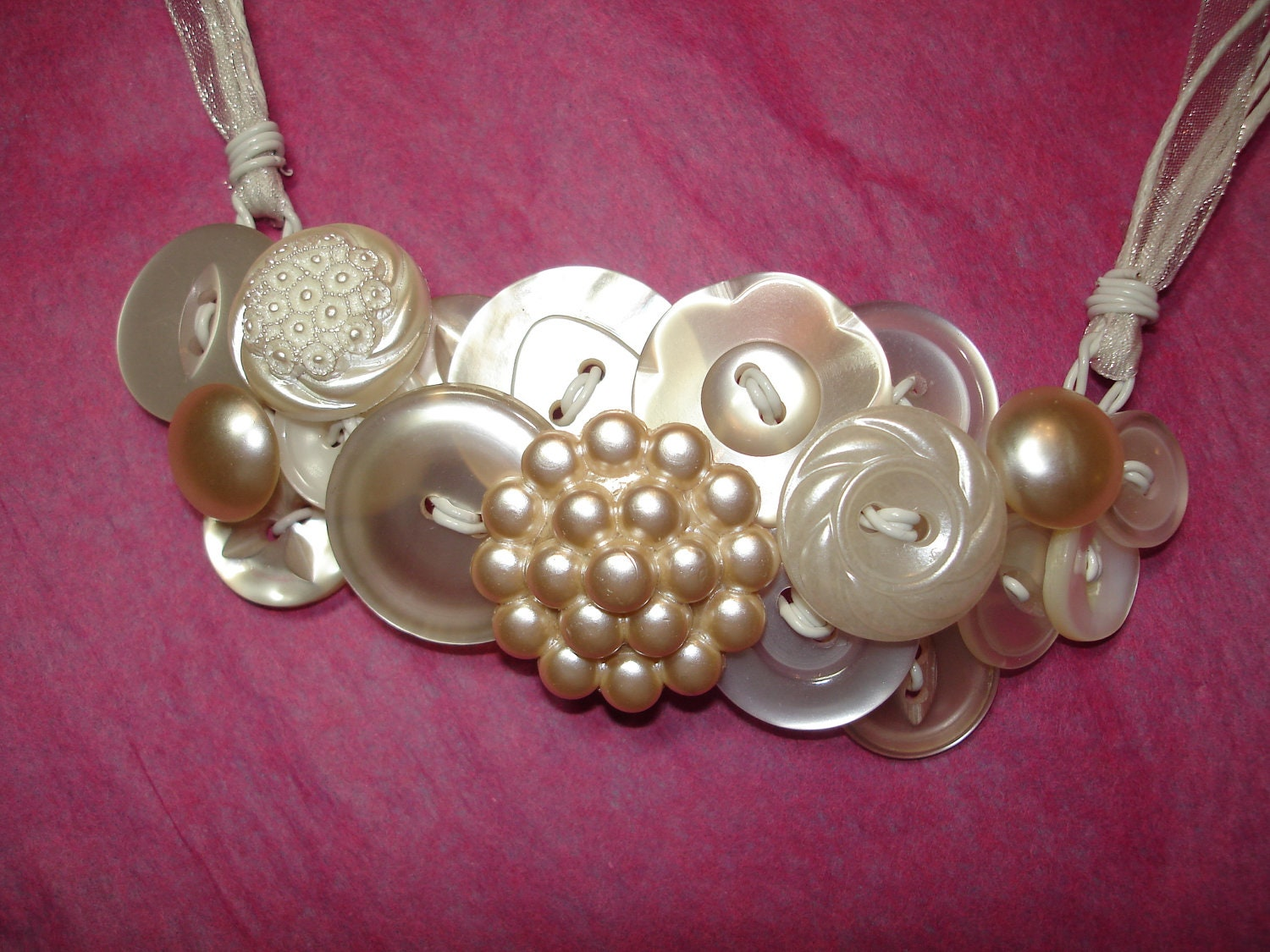 vintage button necklace button jewelry pearl buttons