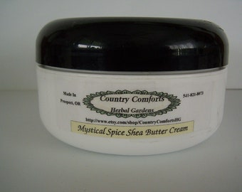 Mystical Spice Whipped Shea Body Butter Cream - Sweet, spicy fragrance - dry skin cream, rich cream - 4 oz Jar