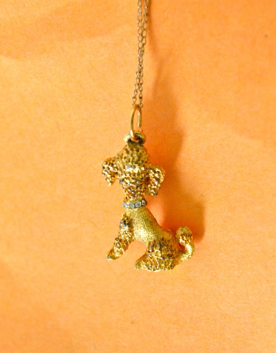 DOG Pendant, Antique Gold Tone, Clear Rhinestones, Animal Pendant, Fine Vintage Jewelry, Clearance Sale