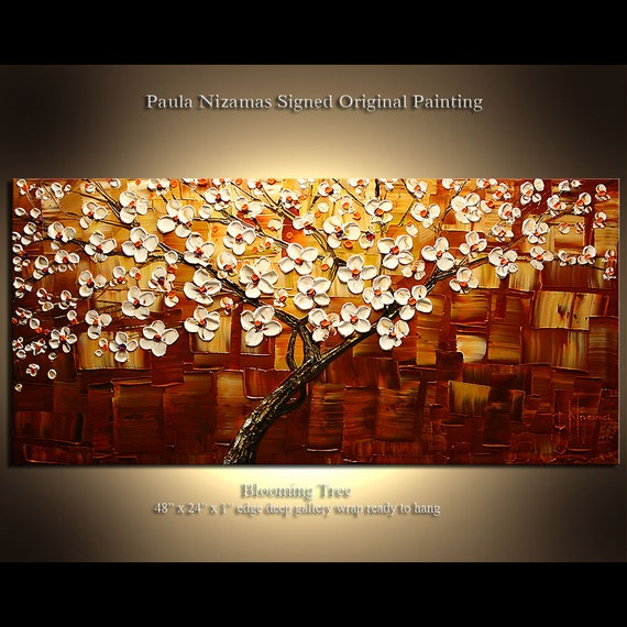 """Original Palette Knife Painting on heavy duty canvas Flowering Cherry by Paula Nizamas Ready to Hang 48"""""""