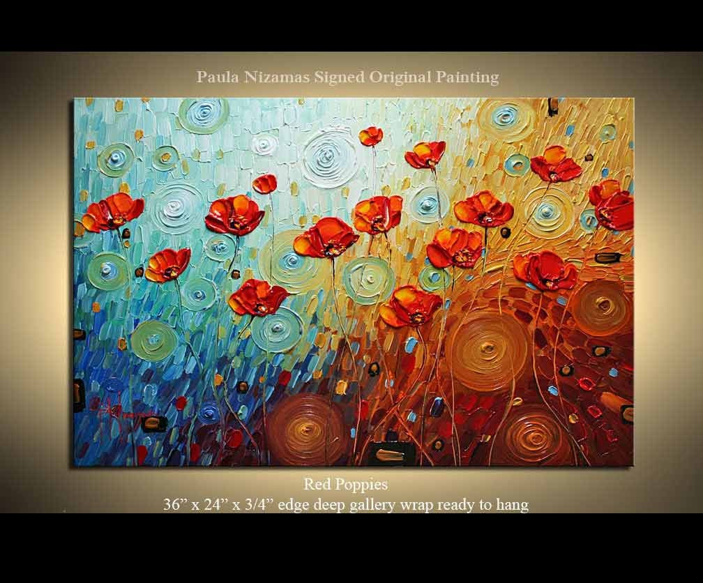 Original Palette Knife Textured Oil Painting Red Poppies