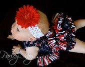 Parley Ray Stars & Stripes Patriotic Independence Pinafore Dress with Ruffled Bloomers/ Diaper Cover / 4th of July Pageants Photo Props