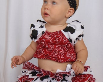 Beautiful Parley Ray Cowgirl All Around Ruffle Skirt and Peasant Style Blouse Girl Ruffled Bloomers/ Diaper Cover